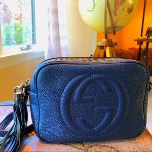 Gucci Soho Disco Side Bag Leather Blue GG